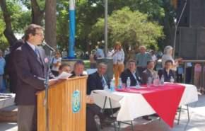 El vicegobernador en ejercicio del Poder Ejecutivo, José Rubén Uñac, en un momento de su discurso