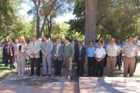 Autoridades en el acto del 96º aniversario de creación del Departamento Chimbas