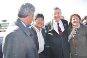 El gobernador Gioja con Evo Morales y Rosa Palacio de Gioja