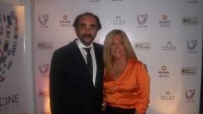 Riofrio con el embajador del Uruguay, Guillermo Pomy Barriola
