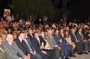 Primera parte del acto, autoridades y asistentes al Congreso, entonan el Himno Nacional Argentino