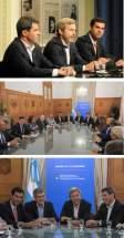 Marcos Peña, jefe de Gabinete y Rogelio Frigerio, ministro del Interior, con los gobernadores de San Juan y Salta, Sergio Uñac y Juan Manuel Urtubey