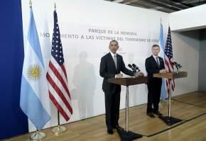 Conferencia de prensa de Obama y Macri en el Monumento a las Víctimas del Terrorismo de Estado