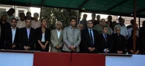 Autoridades en el palco frente al edificio de la ex Legislatura