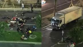 A la derecha el camión, iba cargado con armas. El chofer fue abatido. A la izquierda gente sin vida.