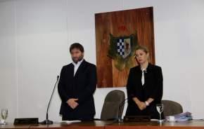 Presidente del Concejo Deliberante, Juan Pablo Dara, y secretaria del Concejo, Alejandra Caneva