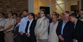 Intendentes, legisladores provinciales, concejales, funcionarios policiales, en la inauguración del nuevo edificio del Departamento Bomberos