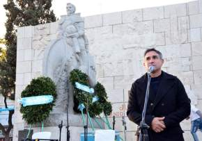 Intendente Franco Aranda inaugurando obras en la Plaza Juan Jufré