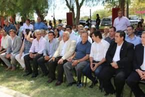 Autoridades presentes en la apertura de las Colonias de Verano 2018 en el Polideportivo Municipal de Angaco